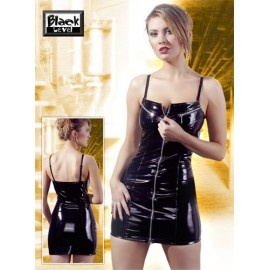 Mini obleka iz vinila z zadrgo