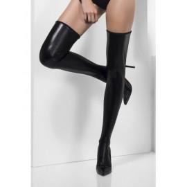 Črne samostoječe nogavice z videzom usnja