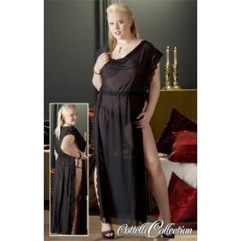 Dolga črna obleka z bleščicami