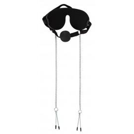 Gag maska s čipalkami za bradavičke Bad Kitty